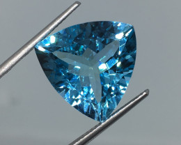 11.76 Carat VVS Topaz Swiss Blue Trillion Spectacular Cut and Color !