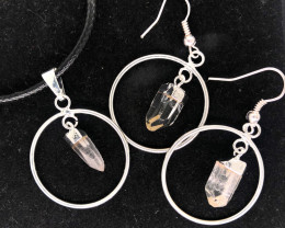 Raw Round Silver Crystal Set Pendant & Earrings - BR 1186