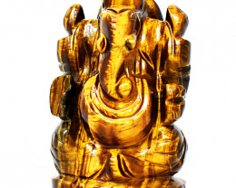 Genuine 1210.00 Cts Golden Tiger Eye Ganesha Idol