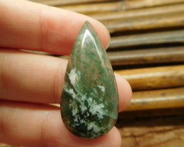 Natural cabochon moss agate bead (G1277)