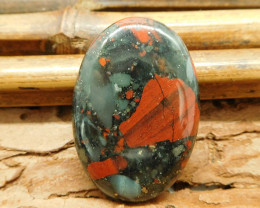 Oval gemstone cabochon african bloodstone bead (G1286)