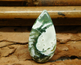 Natural white moss agate cabochon bead (G1290)
