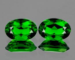 6x4 mm Oval 2 pcs 1.10cts Chrome Green Diopside [VVS}