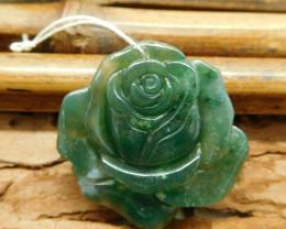 Fancy agate rose flower pendant bead (G1349)