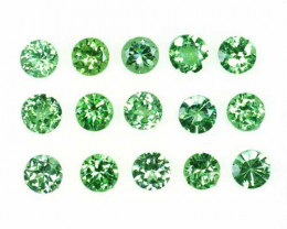 2.96 Cts Natural Mint Green Garnet 3.5mm Round Cut 15Pcs Tanzania