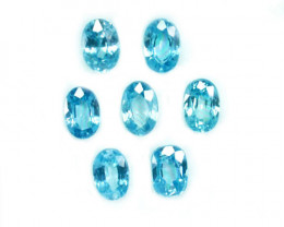 5.03 Cts Natural Sparkling Blue Zircon 6x4mm Oval Cut 7Pcs Cambodia