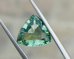 2.20 Ct Natural Greenish Transparent Trillion Cut Gemstone