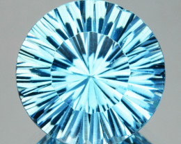 2.82 Cts Natural Sky Blue Topaz 9mm Round Concave Cut Brazil