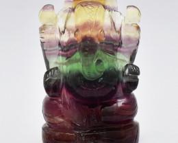 Genuine 1120.00 Cts Multicolor Fluorite Carved Ganesha Idol