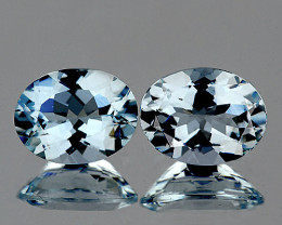6x5 mm Oval 2 pcs 1.14cts Blue Aquamarine [VVS]