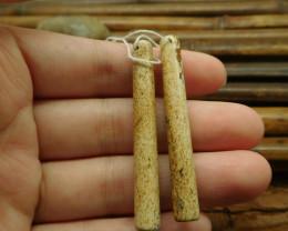 Pair picture jasper handmade earring jewelry (G1361)