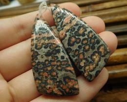 Leopard skin jasper pair gemstone bead (G1363)