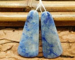 Blue gemstone sodalite handmade earring bead (G1377)