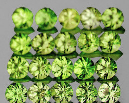2.00 mm Round 80 pieces 2.87cts Green Peridot [VVS]