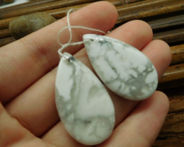 Natural white howlite gemstone jewelry earring (G1379)