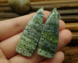 Green zebra pair gemstone jewelry handmade bead (G1384)