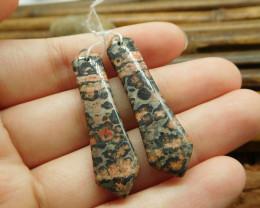 Leopard skin jasper pair earring bead (G1385)