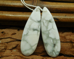 Natural pair matching howlite gemstone earring bead (G1386)