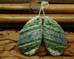 Natural gemstone earring green zebra gemstone pair (G1388)