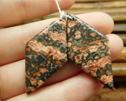 Leopard skin jasper pair gemstone earring (G1391)