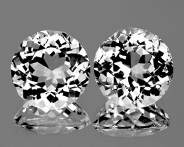 8.00 mm Round 2pcs 4.51cts White Topaz [VVS]