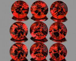 4.00 mm Round 9 pcs 3.18cts Orange Red Garnet [VVS]