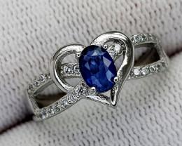 15CT BLUE SAPPHIRE 925 SILVER RING 7 IGCSR08