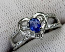 15CT BLUE SAPPHIRE 925 SILVER RING 7 IGCSR09