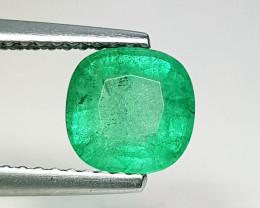 1.35 ct  IGI Certified Gem  Top Grade Cushion Cut Zambian Emerald