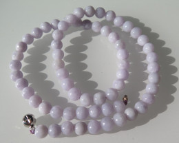 NICE NATURAL LAVENDER JADE NECKLACE  48cm and 8mm
