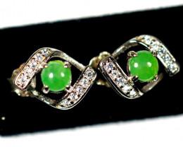 Natural Jadeite Jade Silver Earring