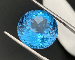 """""""NR""""33.20 Cts Round 19mm Top Quality Natural Topaz Master Cut"""