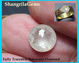 1.31ct 7.17mm Ice White round rose cut diamond from Botswana
