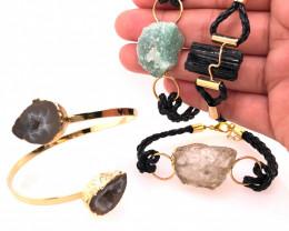 4 x Raw Rock & Funny Gemstones Bracelets - BR 1212