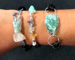 3 x Raw Rock & Funny Gemstones Bracelets - BR 1218