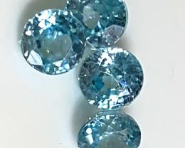 Four Sparkling Blue Zircon gems - 5.0mm No reserve ~