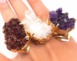 3 x Raw High Grade Druzy Gemstone Golden Ring - BR 1229