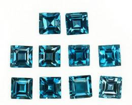 4.70 Cts Natural London Blue Topaz 4mm Square Cut 10Pcs Brazil