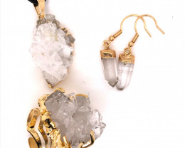 Crystal & Golden Lovers Jewelry Set - BR 1256