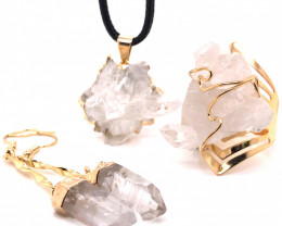 Crystal & Golden Lovers Jewelry Set - BR 1258