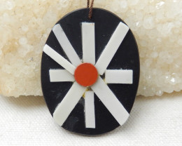 99cts Natural Obsidian and White Jade Intarsia Pendant Bead,Japanese Pendan