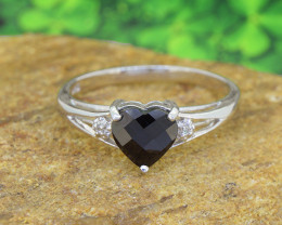 Natural  Black Sapphire 925 Sterling Silver Ring SIZE 7  (SSR583)