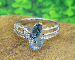 Natural Topaz 925 Sterling Silver Ring SIZE7 (SSR057)