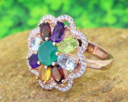 Natural Multi  Gemstone Cocktail 925 Sterling Silver Ring SIZE 7 (SSR0574)