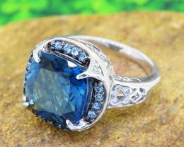 London Blue Topaz & Diamond 925 Sterling Silver Ring SIZE 7 (SSR0568)