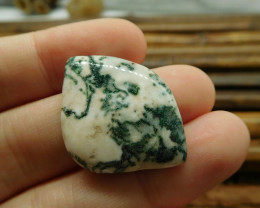 White moss agate gemstone cabochon bead (G1499)