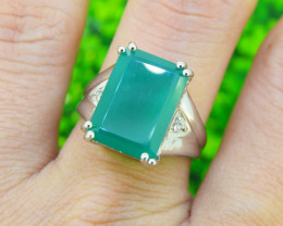 Natural Chalcedoney 925 Sterling Silver Ring SIZE 7 (SSR0185)