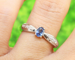 Natural Blue Sapphire Size 6  US, 925 Sterling Silver Ring (SSR603)