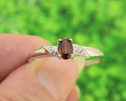 Natural Hessonite Garnet Size  10 US, 925 Sterling Silver Ring (SSR0602)