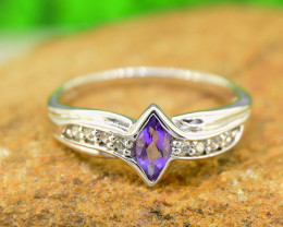 Natural Amethyst Size  6US, 925 Sterling Silver Ring (SSR0595 )